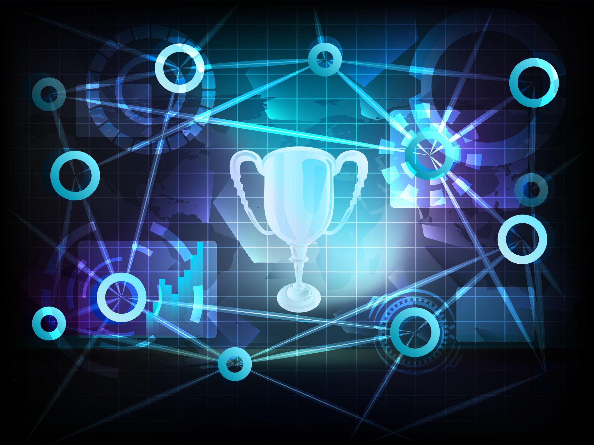 champion in business world transfer network illustration